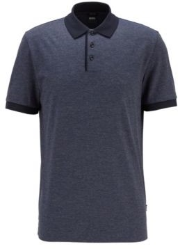 HUGO BOSS Structured Stripe Polo Shirt In Mercerized Mouline Cotton - Dark Blue