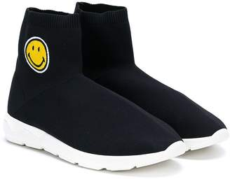 Joshua Sanders Kids smily face sock hi-top trainers