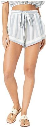 Eberjey Umbrella Stripes - Edu Shorts Cover-Up (Zen Blue/Cloud) Women's Swimwear