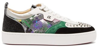 Christian Louboutin Happyrui Spikes Sequinned Leather Trainers - Mens - Multi