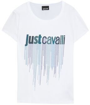 Just Cavalli Studded Printed Cotton-jersey T-shirt