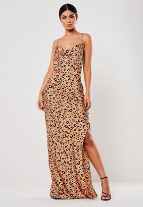Missguided Brown Satin Animal Print Maxi Dress
