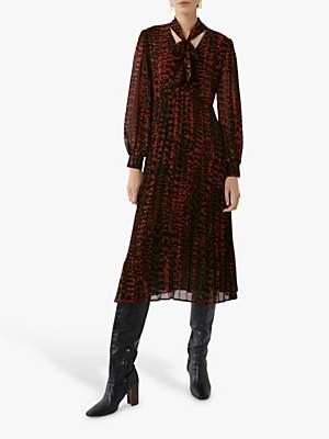 Warehouse Feather Print Midi Shirt Dress, Red Pattern