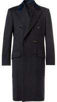 Dunhill Double-breasted Velvet-trimmed Cashmere Overcoat - Navy