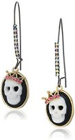 "Betsey Johnson Skeletons After Dark"" Cameo Skull Long Drop Earring"