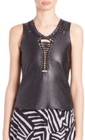 Love Moschino Leather Weave-Detail Tank