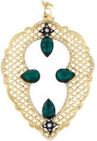 Armenta Large Mesh Scroll Teardrop Enhancer with Malachite and Blue topaz Doublet and Diamonds