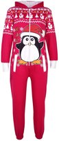 a2z4kids Kids Girls Boys Novelty Christmas Penguin Fleece Onesie All In One Jumpsuit 5-13