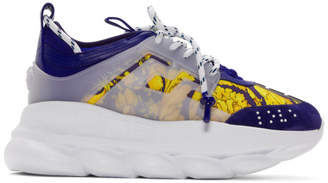 Versace Blue and Gold Heritage Crete de Fleur Chain Reaction Sneakers