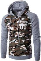 jeansian Men's Fashion Camouflage Stitching Hoodie Sweatshirts D728 Coffee M