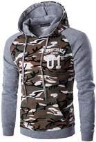 jeansian Men's Fashion Camouflage Stitching Hoodie Sweatshirts D728 M