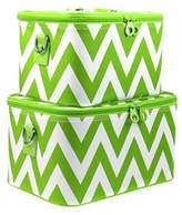 Chevron Print 2 Piece Train Case Luggage Set Toiletry Cosmetic Makeup Bag (Green) by scarlettsbags