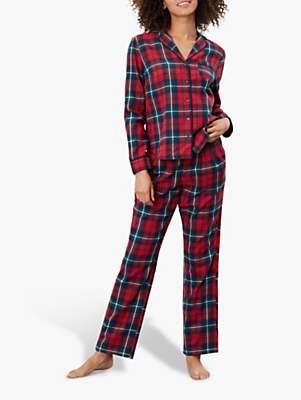 Joules Caitlin Check Cotton Pyjama Set, Red