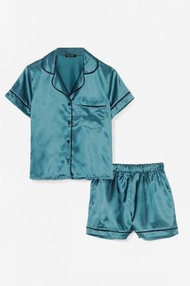 Nasty Gal Womens Straight to Sleek Satin Pyjama Shorts Set - Green - 10