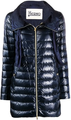 Herno Drawstring-Neck Quilted Down Coat