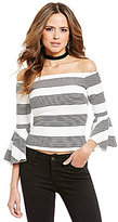 Gianni Bini Marcia Off the Shoulder Bell Sleeve Stripe Blouse