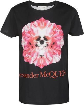 Alexander McQueen Flower Skull Logo Printed T-Shirt
