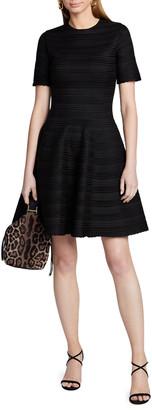 Oscar de la Renta Short-Sleeve Jacquard Striped Fit-&-Flare Mini Dress