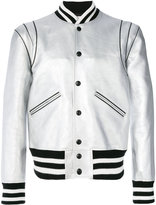 Givenchy striped trim bomber jacket - men - Calf Leather/Acrylic/Polyester/Wool - 50