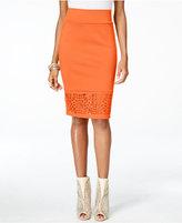 Thalia Sodi Lace-Hem Scuba Pencil Skirt