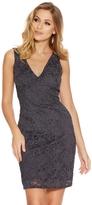 Quiz Grey Glitter Lace V Neck Bodycon Midi Dress