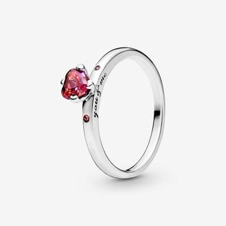 Pandora Sparkling Red Heart Ring