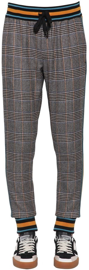 Dolce & Gabbana Checked Wool Blend Pants