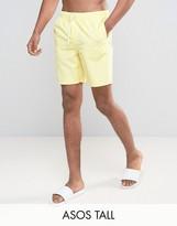 Asos TALL Swim Shorts In Yellow Mid Length