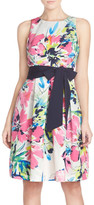 Eliza J Belted Print Faille Fit & Flare Dress