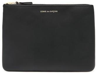 Comme des Garcons Foiled-logo Leather Pouch - Womens - Black