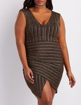 Charlotte Russe Plus Size Shimmer Striped Asymmetrical Dress