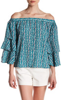 Romeo & Juliet Couture Off-the-Shoulder Tiered Sleeve Shirt