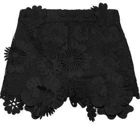 Anna Sui Floral-appliqued Guipure Lace Shorts