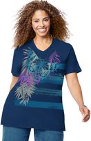 Just My Size Women`s Plus-Size Printed Short Sleeve V-Neck, OJ181