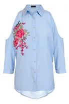 Quiz Blue Chambray Cold Shoulder Shirt