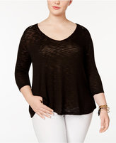 Jessica Simpson Trendy Plus Size Murielle Lace-Up-Back Top