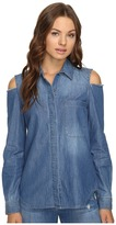 7 For All Mankind Long Sleeve Cold Shoulder Denim Shirt in Authentic Vista Blue