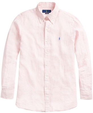 Polo Ralph Lauren Classic-Fit Stripe Logo-Embroidered Linen Shirt
