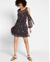 Express polka dot floral cold shoulder tie sleeve dress