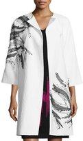 Josie Natori 3/4-Sleeve Textured Topper Coat