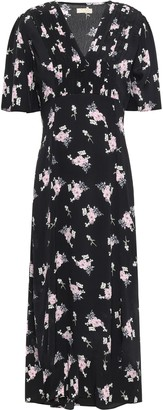 By Ti Mo Pintucked Floral-print Crepe Midi Dress