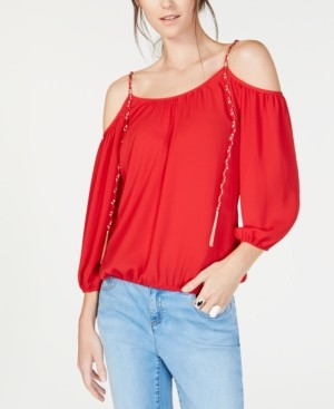 INC International Concepts Inc Cold-Shoulder Chain-Detail Top, Created for Macy's
