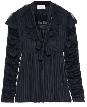 Zimmermann Tempest Ruffled Lace-trimmed Striped Silk-georgette Blouse