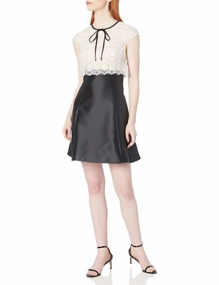 ABS by Allen Schwartz Women's Short Sleeve Lace and Taffeta Dress