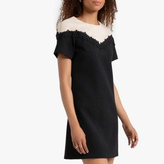 Molly Bracken Short-Sleeve Two-Tone Dress with Embroidery