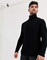 Asos Design ASOS DESIGN lambswool cable knit roll neck jumper in black