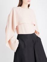 Jil Sander Dazio draped overlay crepe blouse