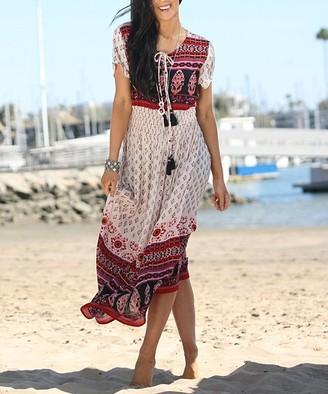 BEIGE Ananda's Collection Women's Maxi Dresses Scarf-Print Maxi Dress - Plus