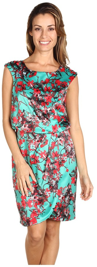Jessica Simpson Floral Printed Cap Sleeve Dress (Green) - Apparel