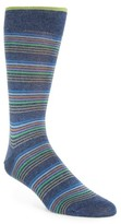 Bugatchi Men's Thin Stripe Crew Socks